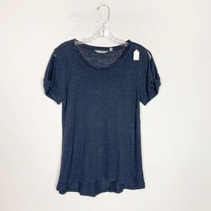 Athleta navy blue cold shoulder t-shirt size small